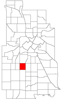 Location of Lyndale within the U.S. city of Minneapolis