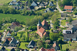 Aerial view with St. Catherine's Church, 2012