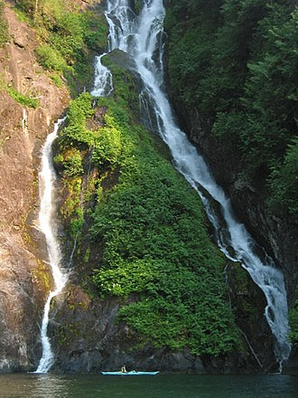 Tongass National Forest - Misty Fjords Waterfall and kayak