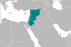 Map of the Levant in a narrow sense, with the countries of the Syrian region, including the modern country of Syria, in green, excluding southern part of Turkey