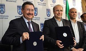 Melih Gökçek - Gökçek with Mayor of Tehran, Mohammad Bagher Ghalibaf signing a sister city contract