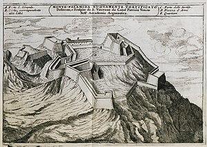 Palamidi - Image: Monte Palamida nuovamente fortificato Coronelli Vincenzo Maria 1708