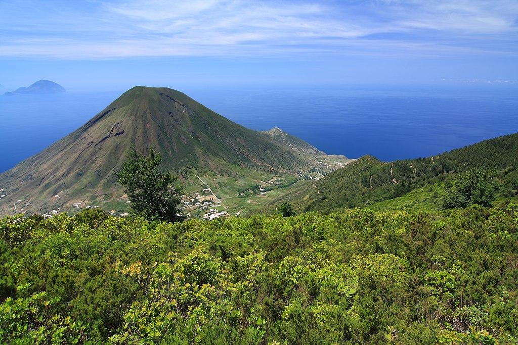 Monte dei Porri volcano from Monte Fossa delle Felci on Salina Aeolian Islands Italy