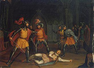 Leonor Teles - A morte do Conde Andeiro (The death of Count Andeiro)(c. 1860) José de Sousa Azevedo. Museu Nacional Soares dos Reis (Oporto).