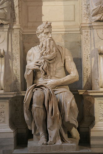Sculpture - Michelangelo's Moses, (c. 1513–1515), San Pietro in Vincoli, Rome, for the tomb of Pope Julius II