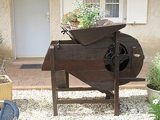 Arbigny - An old winnowing machine at the Moulin de la Brevette