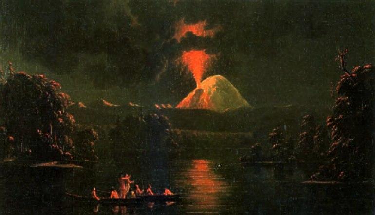 Mount St Helens erupting at night by Paul Kane