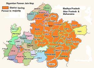 Parwar (Jain community) - Map of district having large  Digambar Parwar Jain  Community