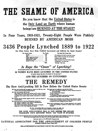 Dyer Anti-Lynching Bill - 1922 NAACP advertisement attempted to raise awareness about the lynching epidemic and the proposed Dyer anti-lynching bill.