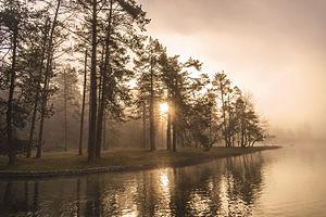 Šobec Campground - Sunrise at Šobec pond.