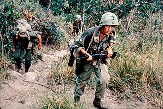 Operation Harrison - 2/502 infantrymen climbing a hill, 27 February