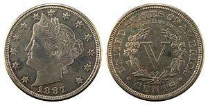Liberty Head nickel - Image: NNC US 1887 5C Liberty Nickel (cents)