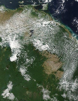 Geography of Guyana - A few scattered fires (red dots) in northern South America: Venezuela (left), Guyana (right) and Brazil (bottom center)