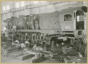 New South Wales D58 class locomotive - 5801 under construction at Eveleigh Railway Workshops in 1949