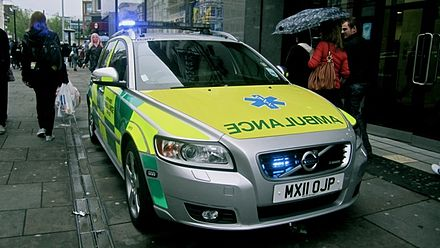 Volvo V50 Response car on Market Street, Manchester (this model has since been retired) NWAS response car.jpg
