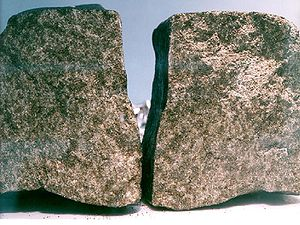 Martian meteorite - Nakhla meteorite's two sides and its inner surfaces after breaking it in 1998