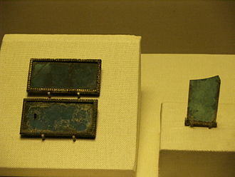 History of glass - Blue glass plaques found in the Mausoleum of the Nanyue King, dating from late 2nd century BC