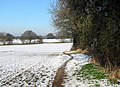 Narrow path skirting wintry field - geograph.org.uk - 1630583.jpg