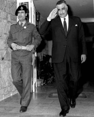 History of Libya under Muammar Gaddafi - Gaddafi (left) with Egyptian President Gamal Abdel Nasser in 1969.