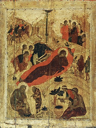 Christmas - Eastern Orthodox icon of the birth of Christ by Saint Andrei Rublev, 15th century