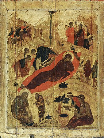 Eastern Orthodox icon of the birth of Christ by Saint Andrei Rublev, 15th century Nativity (15th c., Annunciation Cathedral in Moscow).jpg