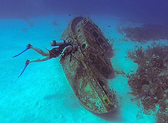 Scuba diving - Diver in a shipwreck in the Caribbean Sea.