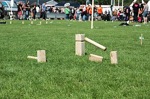 Kubb - King and sticks in a traditional Kubb set at Dutch Championship