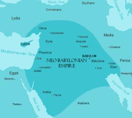 Babylonië ca. 600 v.Chr. De Syrische Woestijn (binnen de vierhoek Jeruzalem-Tayma-Uruk-Aššur) wordt hier tot de Nieuw-Babylonische invloedssfeer gerekend.