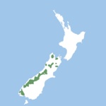Scattered populations across the South Island