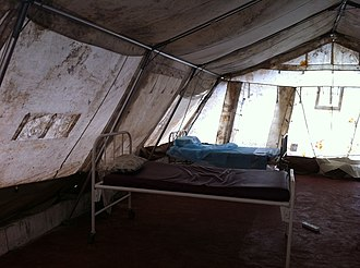 Ebola virus epidemic in Sierra Leone - A view of a part of an isolation ward in Freetown