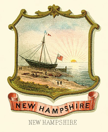 The historical coat of arms of New Hampshire, from 1876 New Hampshire state coat of arms (illustrated, 1876).jpg