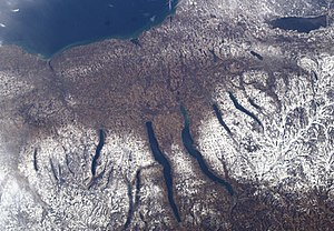 Finger Lakes - Satellite view. Lake Ontario is at top, Oneida Lake upper right, Cazenovia Lake directly below Oneida.