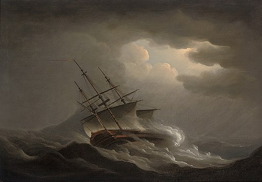 Nicholas Pocock - A frigate heeling in an offshore gale