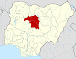 Map of Nigeria highlighting Kaduna State