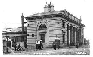 Nine Elms railway station - Nine Elms station, when in use as a good station, adapted from an old photograph dated about 1905.