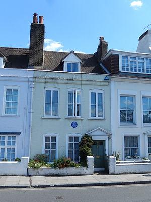 "Ninette de Valois - Ninette de Valois's house at 14 The Terrace, Barnes, facing the river, with English Heritage blue plaque, ""Dame NINETTE DE VALOIS O.M. 1898-2001 Founder of the Royal Ballet lived here 1962-1982"""