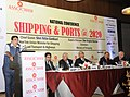 Nitin Gadkari addressing at the National Conference Shipping & Ports @ 2020, in New Delhi on March 18, 2015. The Secretary, Ministry of Shipping, Shri Rajive Kumar and other dignitaries are also seen.jpg