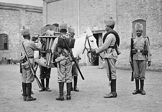 Sapper - Soldiers of No 2 Field Company, Bombay Sappers and Miners on duty in China in 1900. The mule carries the tools required for field engineering tasks.