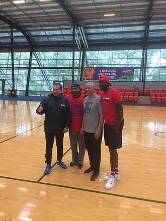 Steve Carfino - Carfino in July 2017 with the No1 Draft Pick Basketball Academy, standing in between Ricky Grace and James Ennis.