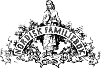 Iðunn - The logo of the first edition (1876) of the Swedish Encyclopedia Nordisk familjebok features a depiction of Iðunn