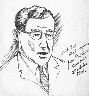 Norris Houghton - Sketch of Norris Houghton from Moscow students 27 October 1960
