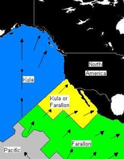 Farallon, Kula, And North American Plate Distribution Between 64 And 74  Million Years Ago. Arrows Represent Vectors (magnitude And Direction) Of  Plate ...