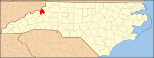National Register of Historic Places listings in Avery County, North Carolina - Image: North Carolina Map Highlighting Avery County