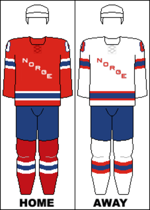 Norway men's national ice hockey team - Image: Norway national hockey team jerseys 2014 Winter Olympics