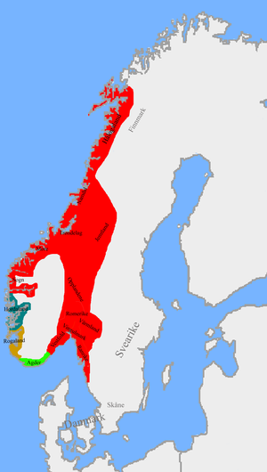 Unification of Norway - Image: Norwegian petty kingdoms ca. 872