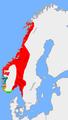 Carte: la Norvège vers 872, avant la bataille de Hafrsfjörd