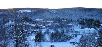 """Norwich University in winter as observed from the """"Ski Hill""""."""