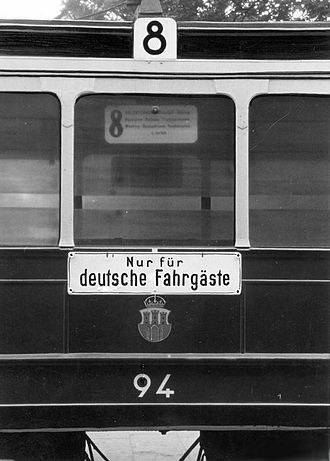 "Racial segregation - ""Nur für deutsche Fahrgäste"" (""Only for German passengers"") on the tram number 8 in German-occupied Kraków, Poland."