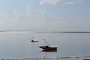 Nyali Beach from the Reef Hotel during high tide and still conditions in Mombasa, Kenya 3.jpg