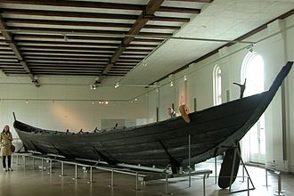 Nydam Mose - The Nydam oak boat on display at Gottorf Castle, Schleswig, Germany.
